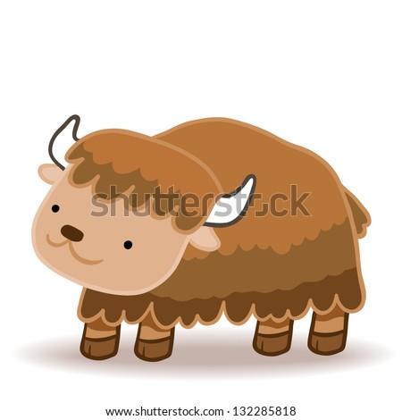 Happy Cute Yak Vector Illustration Stock Vector 132285818 ...