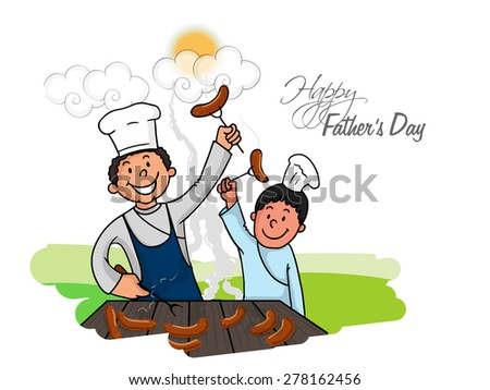 Happy dad with his cute son, cooking food on occasion of Happy Father's Day celebration. - stock vector