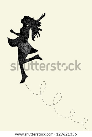 Happy dance woman with outline floral elements. Vector illustration layered for easy manipulation and custom coloring. - stock vector