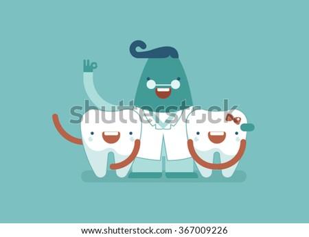 happy dental family,dentist and teeth - stock vector