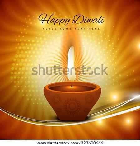 Happy diwali beautiful card background illustration - stock vector