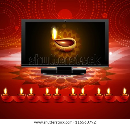 Happy diwali beautiful led tv screen celebration red colorful background - stock vector