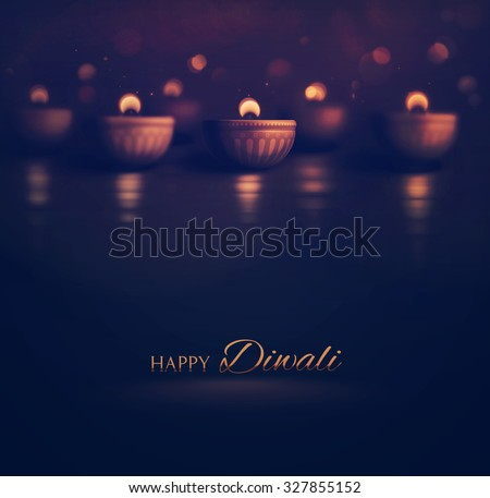Happy Diwali, burning diya, eps 10 - stock vector