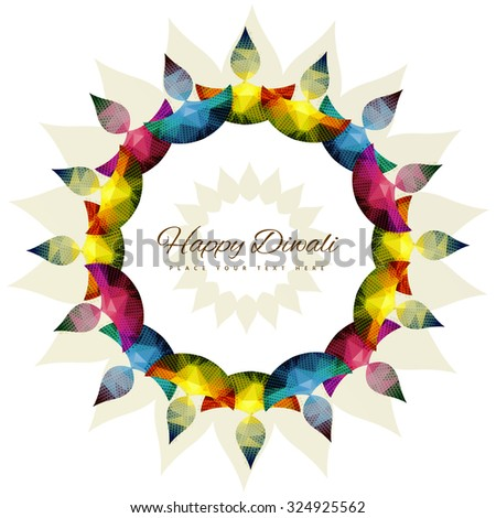 Happy diwali colorful diya celebration decorative design vector - stock vector
