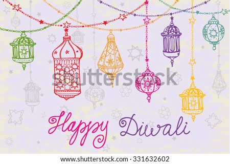 Happy Diwali festival.Traditional hanging lamp.Doodle style.Greeting card with Hand drawing ornament decor.Vector background.Indian religion holiday Holy diya Shubh Deepawali.Horizontal Illustration