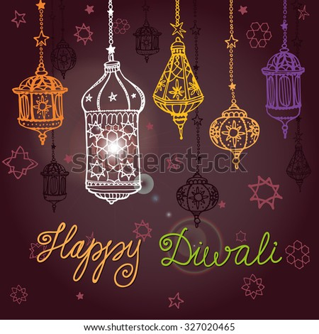 Happy diwali festival traditional hanging lamp doodle stock vector happy diwali festivaladitional hanging lamp in doodle styleeeting card with hand drawing m4hsunfo