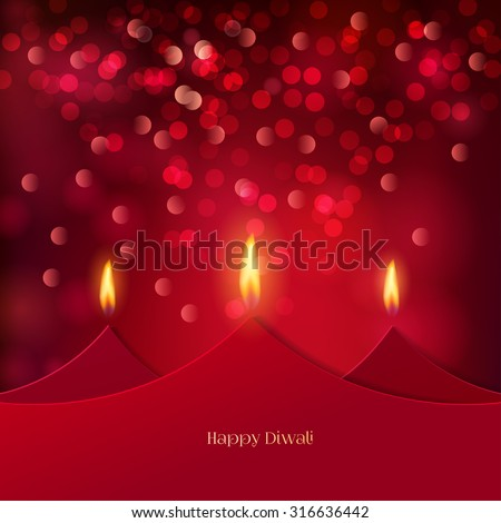 Happy Diwali festive background with stylized oil lamps made from paper. Happy Diwali Card. Vector illustration - stock vector