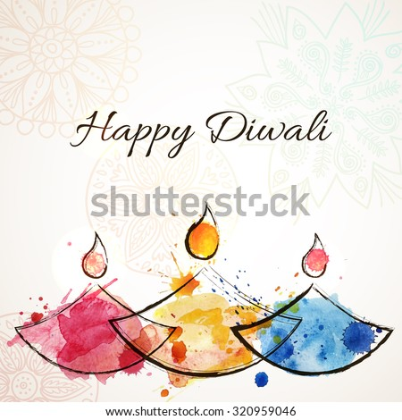 Happy Diwali festive background with stylized watercolor hand drawn oil lamps. Happy Diwali Card. Vector illustration - stock vector