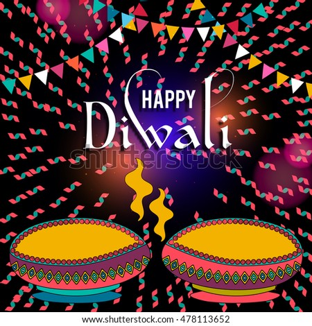 Happy diwali greeting card design beautiful stock photo photo happy diwali greeting card design beautiful glowing typographic background can be used as poster m4hsunfo