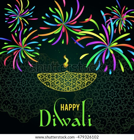 Happy diwali greeting card design beautiful stock vector 479326102 happy diwali greeting card design beautiful glowing typographic background can be used as poster m4hsunfo
