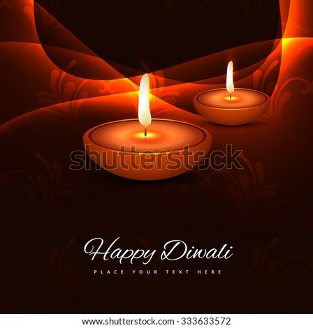 Happy diwali hindu festival background card vector illustration - stock vector