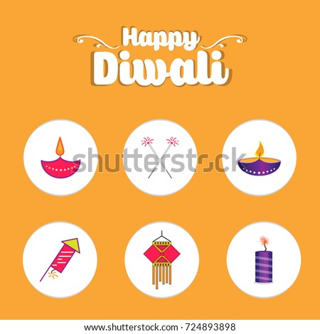 Happy Diwali Icons Symbols Posters Text Stock Vector 724893898