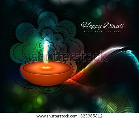 Happy diwali illuminating diya wave colorful background - stock vector