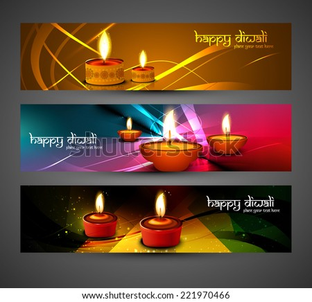 happy Diwali stylish bright colorful set of headers design vector  - stock vector