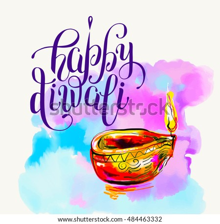 Happy Diwali watercolor greeting card to indian fire festival with hand lettering inscription, vector illustration