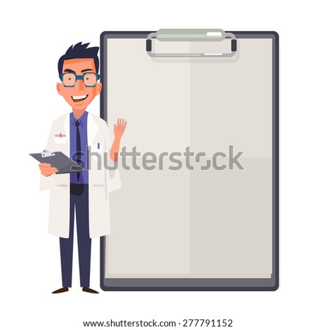Happy doctor character design showing blank clipboard sign for presentation - vector illustration - stock vector