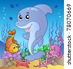 Happy dolphin at sea bottom 3 - vector illustration. - stock vector