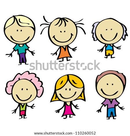 Happy doodle family - stock vector