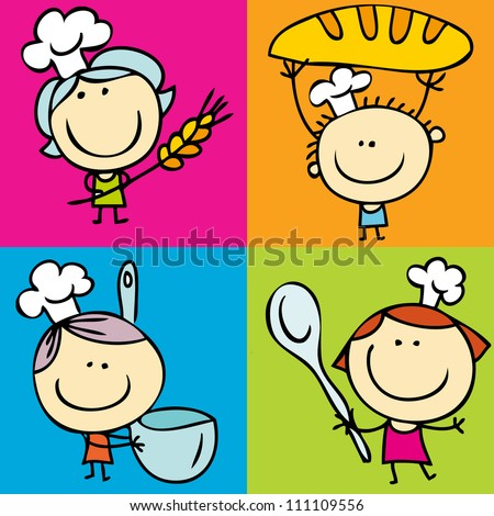 Happy doodle kids with food - stock vector