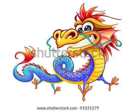 Happy dragon on white background - stock vector