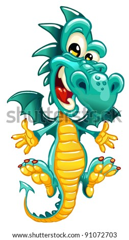 Happy dragon on white background - stock vector