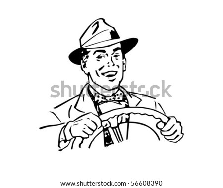 Happy Driver - Retro Clip Art - stock vector