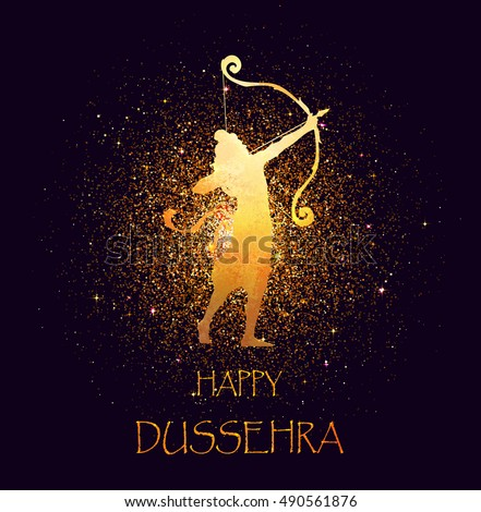 Happy Dussehra celebration card for Indian Festival. Gold Lord Rama taking aim with bow and arrow, killing Ravana. Holyday watercolor background. Hand drawn Vector illustration.