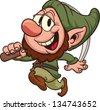 Happy dwarf miner. Vector clip art illustration. All in a single layer. - stock vector
