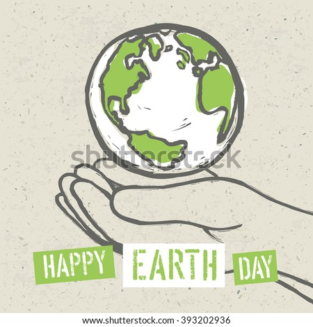 Happy Earth Day Poster. Symbolic Earth in hands on the recycled paper texture. 22 April - stock vector
