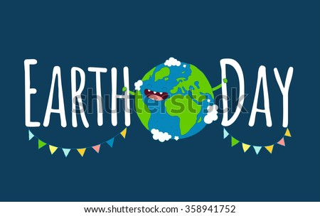 Happy Earth day poster. Vector illustration. - stock vector