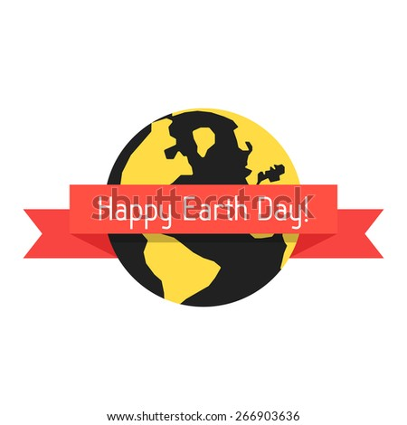 happy earth day with planet and red ribbon. concept of travel, geography, postcard, natural pollution, global warming, ecosystem, ecological harmony. flat style modern design eps10 vector illustration - stock vector