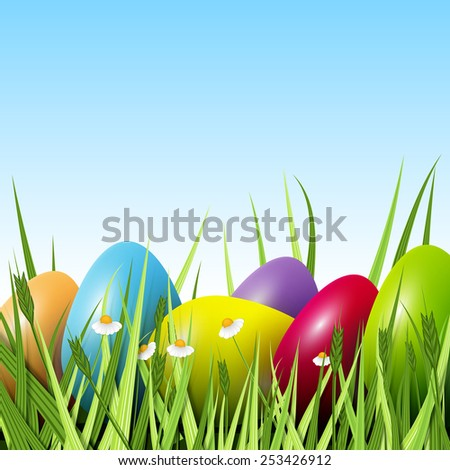 Happy Easter, a lot of colorful eggs in the grass, excellent vector illustration, EPS 10 - stock vector