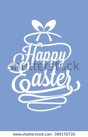Happy Easter azure greeting card with calligraphic words and egg - stock vector