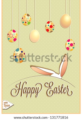 Happy Easter Background With Eggs And Rabbit - stock vector