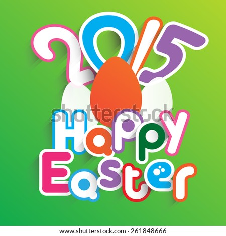 Happy Easter background With text Paper Shadow for Background or Backdrop info graphic template  - stock vector