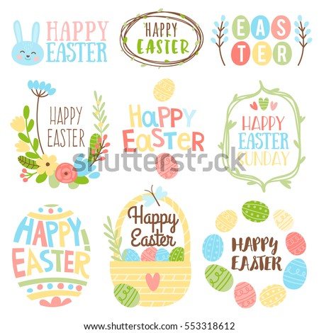 Happy Easter Bright Design Collection. Set Of Nine Colored Vintage Style  Easter Label Designs On