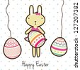 Happy Easter bunny on white background. Vector Illustration - stock vector