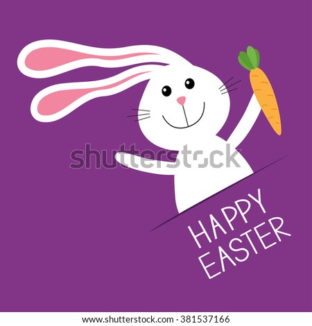 Happy Easter. Bunny rabbit hare holding carrot Paper pocket. Baby greeting card. Violet background. Flat design. Vector illustration - stock vector