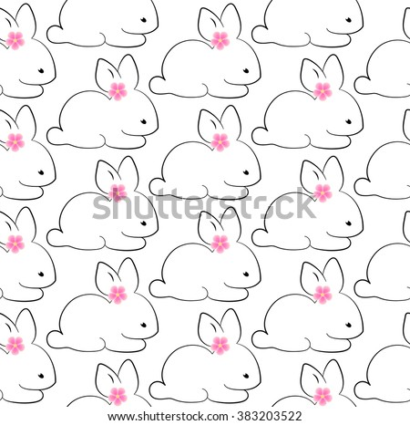 happy easter bunny seamless pattern vector illustration. cute rabbits seamless background - stock vector