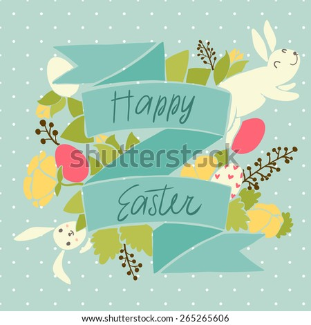 Happy easter card design, vector illustration. - stock vector