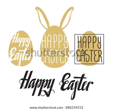 Happy Easter card. Easter background. Easter sunday. Easter egg. Easter lettering in egg shape. Easter Holiday. Easter Vector. Handwritten Happy Easter. Easter greeting card. Happy Easter typography. - stock vector