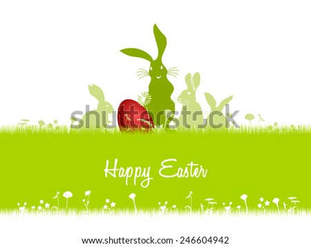 Happy Easter card illustration . Rabbits looking at the red egg hidden in the grass