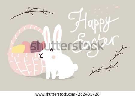 Vector Template Greeting Card Lovely Easter Stock Vector 391214605