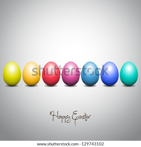 Happy Easter Card - Rainbow colored eggs