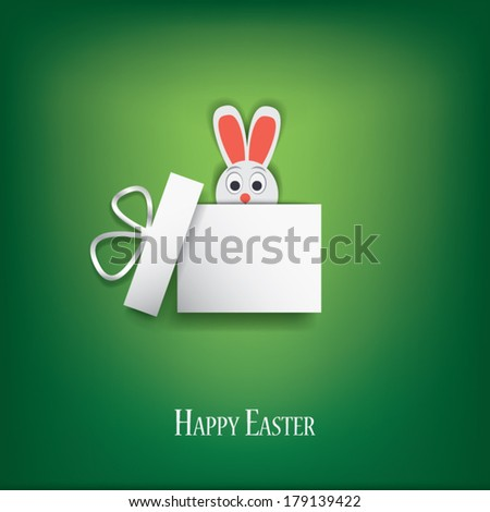 Happy Easter card vector illustration with hiding Easter bunny. Eps10 vector illustration - stock vector