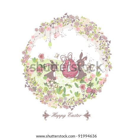 happy easter card with bunnies - stock vector