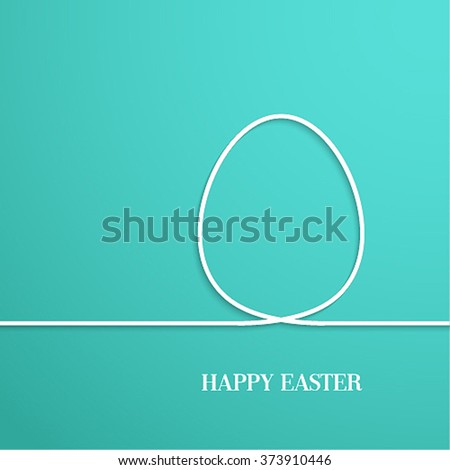 Happy Easter card with paper egg. Vector illustration. - stock vector