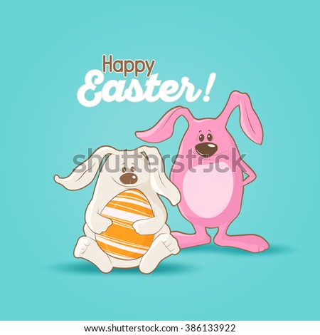 Happy Easter card with rabbit in cartoon style on  blue background - stock vector
