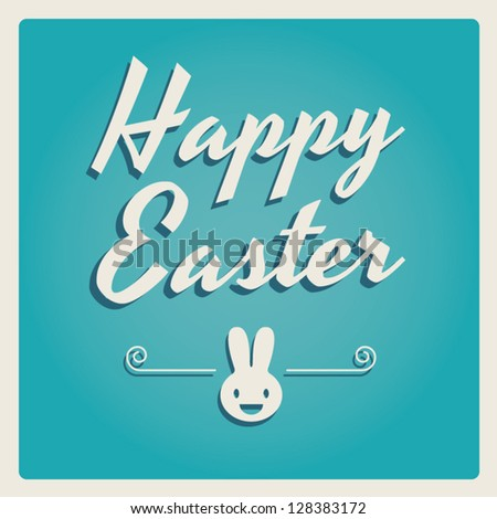 Happy easter cards illustration retro vintage with easter bunny, easter rabbit, ornaments, and fonts - stock vector