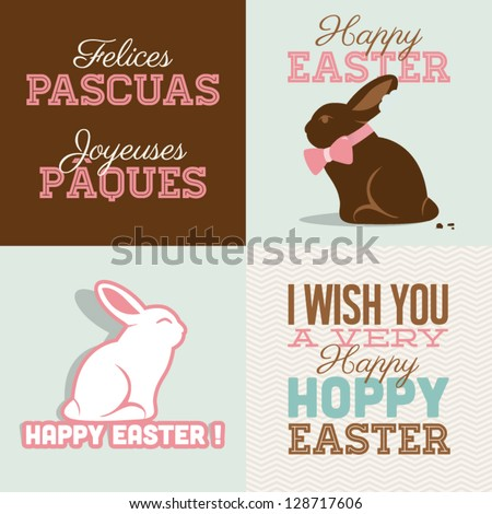Happy easter cards illustration with easter bunny chocolate, easter rabbit and font. - stock vector
